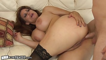 Nasty milf, in stockings likes to get her client's huge cock...