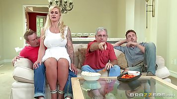 Voluptuous blonde woman, Ryan Conner likes to feel a rock ha...