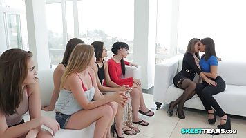 Hot babes have gathered in a huge living room, because they ...