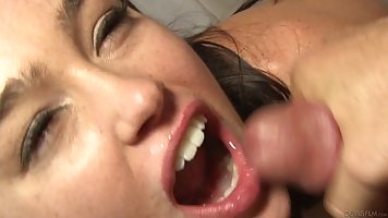 Adorable babe is expecting loads of cum all over her face, a...