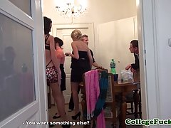 European babe is making a private party in her apartment, wi...