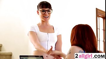 Dark haired masseuse with huge, black glasses seduced her le...