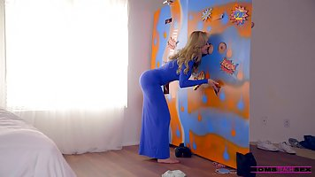 Beautiful blonde woman is about to have a threesome with a t...