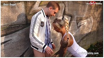 Tattooed blonde lady is getting nailed from the back, after ...