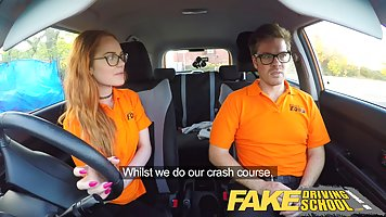 Redhead teen is sucking her driving instructor's big sausage...