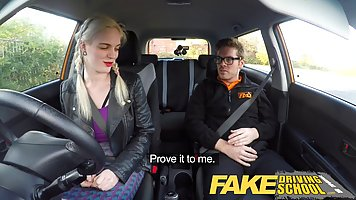 Fake driving instructor is fucking his blonde client, on the...