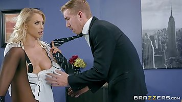 Beautiful, blonde secretary, Alix Lynx is about to give a bl...