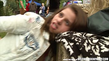 Czech teen babe and her horny boyfriend had quick sex, in th...