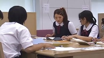 Japanese babes are fucking in the library instead of studyin...