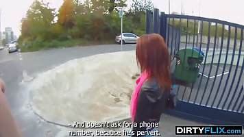 Naughty, red haired babe is sucking dick in a public place, ...