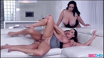 Two fat brunette is having an awesome threesome with a hands...