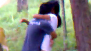 Indian couple is doing it in a local forest, although someon...