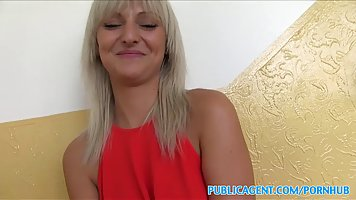 Adorable blonde girl in a red dress is about to have sex wit...