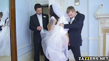 Simony is dressed up in a wedding dress and getting fucked i...