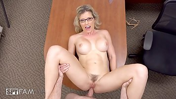 Busty blonde woman is having casual sex in her office, inste...