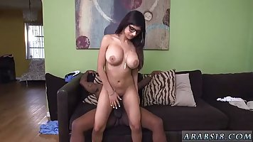 Slutty Arab brunette, Mia Khalifa is riding a big, black coc...