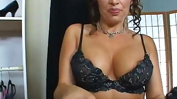 Slutty milf is playing with her tits while riding a rock har...