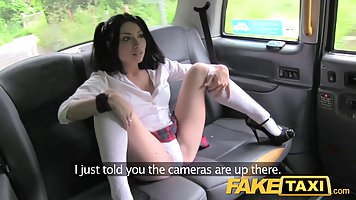 Passionate lady, in high heels is asking her taxi driver to ...
