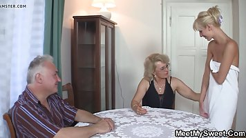 Mature blonde lady and her naughty neighbors are often gathe...