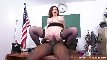 Big tited Sara Jay and her black colleague are having sex on...