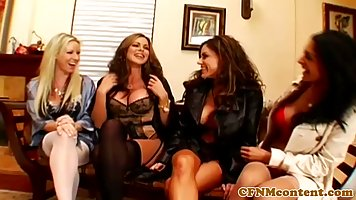 Hot mature sluts are down for a reverse gangbang fun, this l...