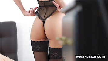 Elegant brunette porn model in black stockings Hazel Dew nee...