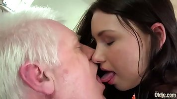 Fresh babe is having sex with an elderly man, because she li...