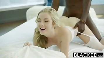 Gorgeous blonde and a handsome black stud are about to make ...