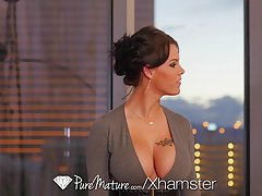 Gorgeous brunette, Peta Jensen is sucking and riding her bos...