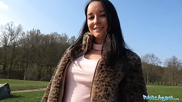 Slutty brunette in a fake fur jacket is often having sex wit...