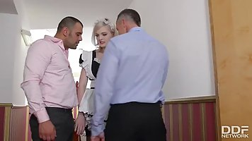 British maid is kneeling on the floor and sucking dick while...