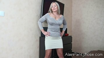 Gilf in lacy lingerie is posing in front of the camera, beca...