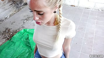 Petite blonde bitch with plaits likes to suck her horny guy'...