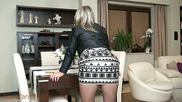 Naughty blonde came home and started taking off her clothes,...