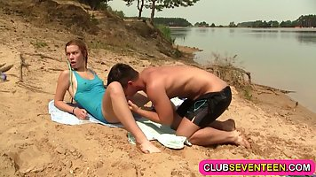 Ravishing teen is getting her soaking wet pussy filled up wi...